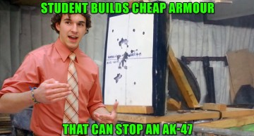 Student Builds Cheap Armour That Can Stop An AK-47